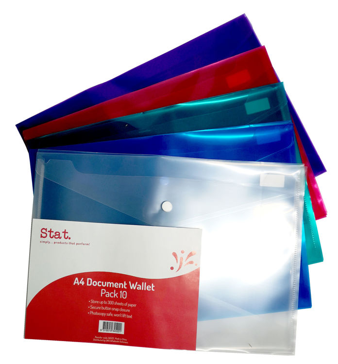 Picture of DOCUMENT WALLET STAT A4 PP W/BUTTON ASSORTED 10pk